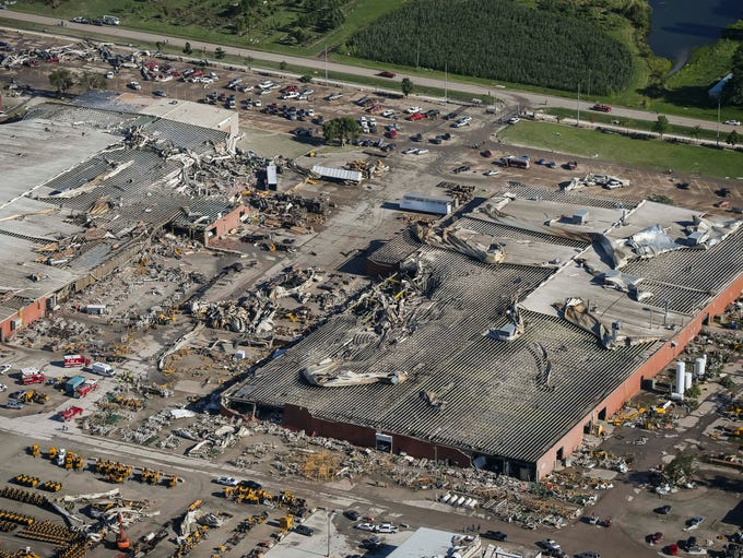 Aerial view of extensive tornado damage to production