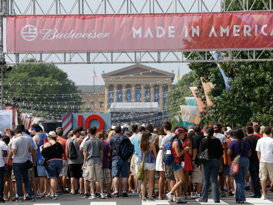 "People line up to enter the ""Made in America"" music"