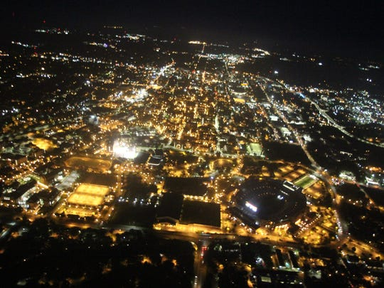 The Tallahassee skyline from 2,000 feet in the air.