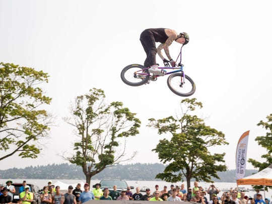 Tricks are performed on a BMX bike at Seafair last