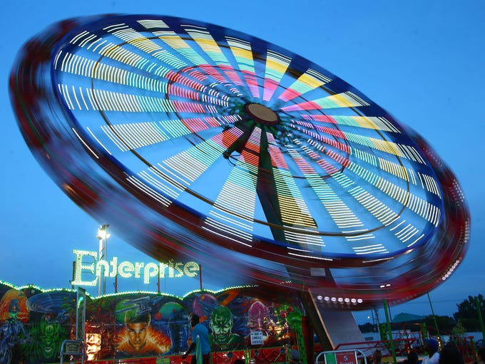 The Midway just after sunset at the NYS Fair. on Sunday,