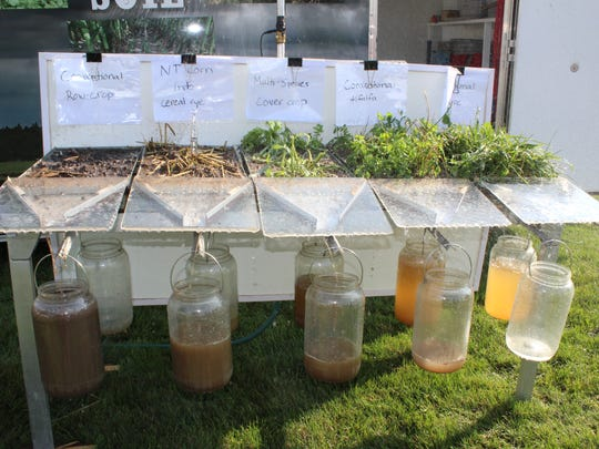 A rainfall simulator that shows the real life impacts of no-till and cover cropping measures.
