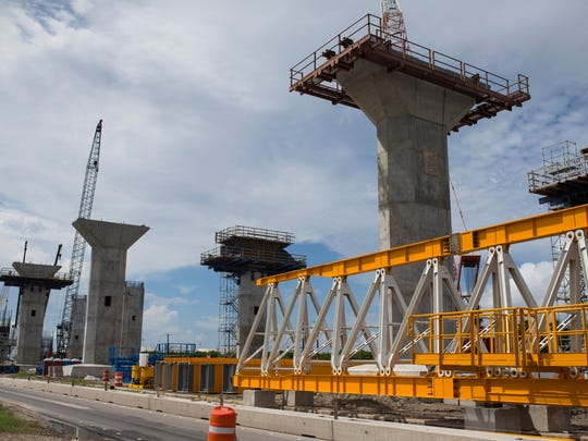 Construction crews work on the new Harbor Bridge project on Monday, Oct. 1, 2018.