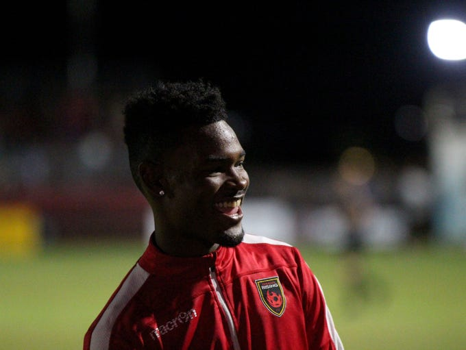 Phoenix Rising's Kevaughn Frater smiles before the