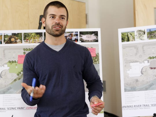 "Sites Southwest landscape architect Andrew Bernard discusses plans for an ""iconic"" park during a community meeting at the Farmington Regional Animal Shelter in November."