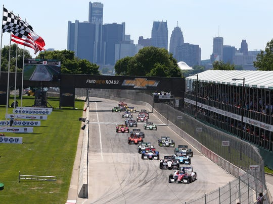 The Detroit skyline provides the backdrop for Michigan's IndyCar race.
