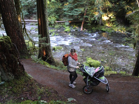 The trail leading to Bagby Hot Springs in Mount Hood National Forest is so well-maintained that it's actually possible to bring a stroller ? provided it's a trail stroller and your baby doesn't mind lots of bumps.
