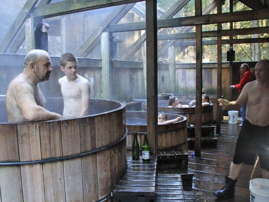 The public area of Bagby Hot Springs blooms with steam