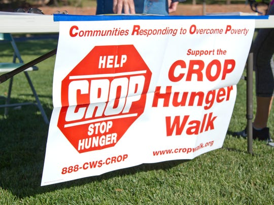 Various St. George religious groups and members of the community participate in the CROP Hunger Walk to bring attention to world hunger. Funds raised by CROP events are used to provide food and water around the world, as well as in our own community. Saturday, Nov. 8, 2014.