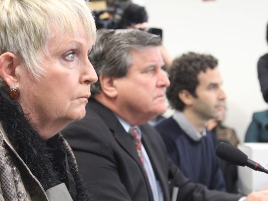 """From left, Mark DeFriest's step sister Barbie Hingle, DeFriest's attorney John Middleton and filmmaker Gabriel London, who made the documentary """"The Life and Mind of Mark DeFriest,"""" at a Wednesday hearing before the Florida Commission on Offender Review. The commission voted to send DeFriest's case up to the full commission Dec. 3, when they'll vote on whether to move up DeFriest's parole date."""