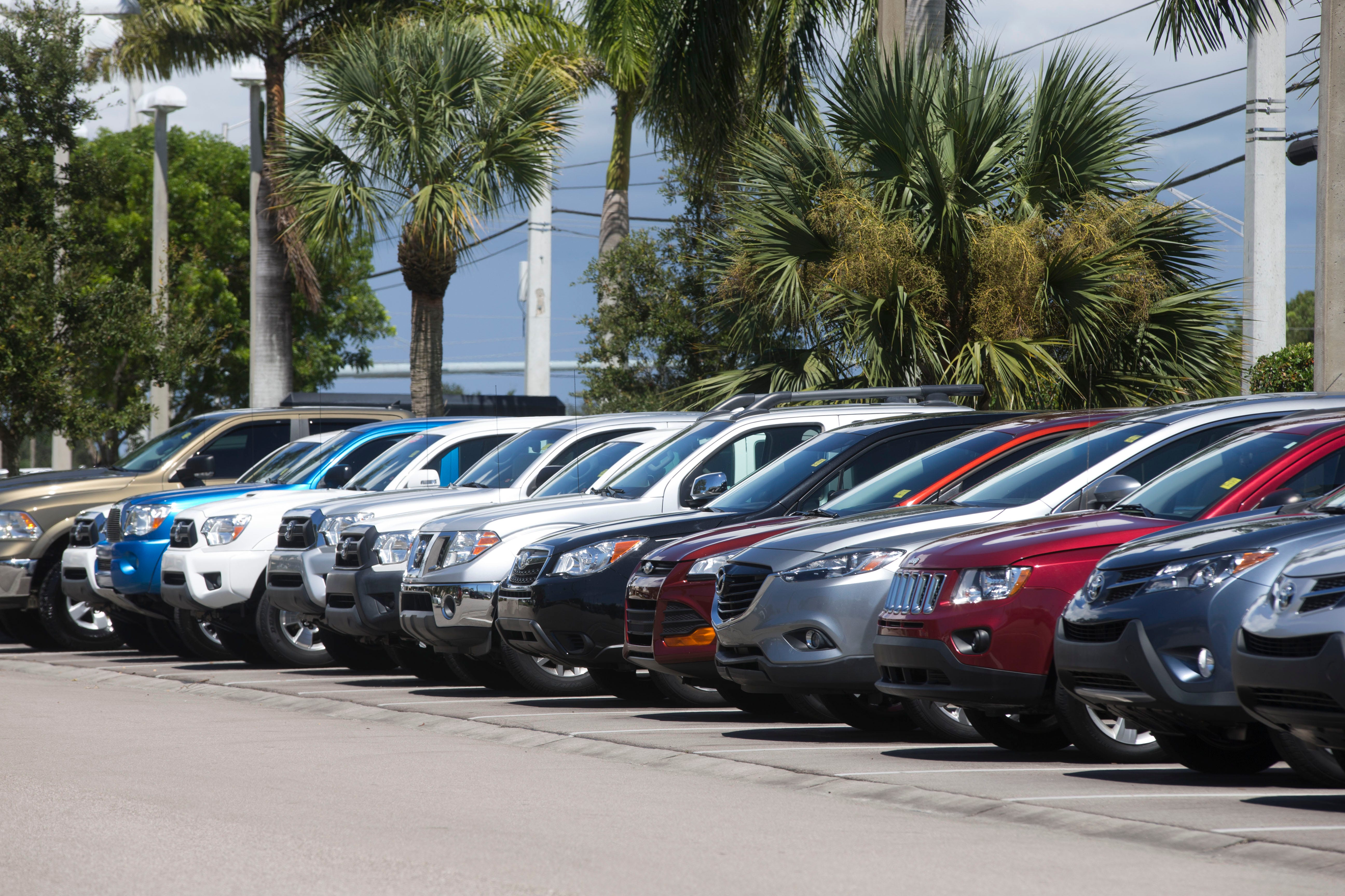 Used Cars Sit Along U.S. 41 At The Germain Toyota Dealership