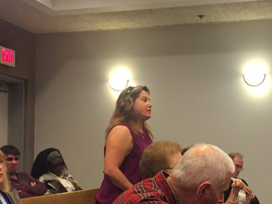 Belleville resident Diane Rothwell speaks at the Tuesday, Nov. 29, meeting of the Township Council. She was among those residents objecting to the council's prior approval of a redevelopment plan for Cortland Street.