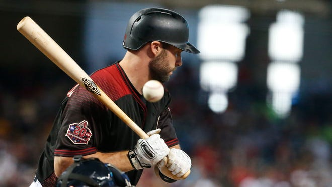 Arizona Diamondbacks first baseman Paul Goldschmidt (44) at bat during the fourth inning of a MLB game against the Washington Nationals at Chase Field in Phoenix, Az., on May 12, 2018.