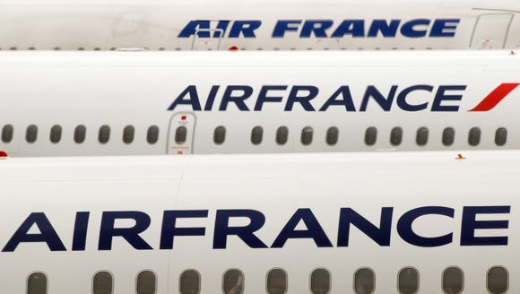 This file photo shows Air France planes at the Paris Charles de Gaulle airport on Oct. 10, 2013.