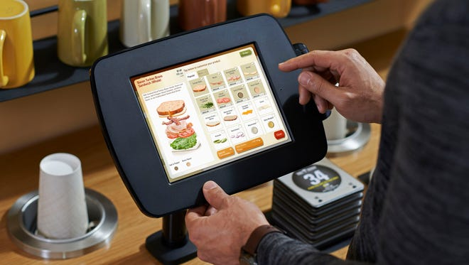 Panera Bread 2.0 will offer a Fast Lane Kiosk, where customers can place their order. Customers can also use the kiosk to pay for their order. (Panera Bread/File)  ORG XMIT: GANNETT [Via MerlinFTP Drop]