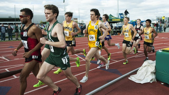Runners compete in the 10,000m race during the America East track and field championships at the Frank H. Livak Facility on the campus of the University of Vermont on Saturday.