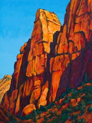 """""""Canyon Junction East"""" by Royden Card shows the artist's vivd use of color against shadow."""