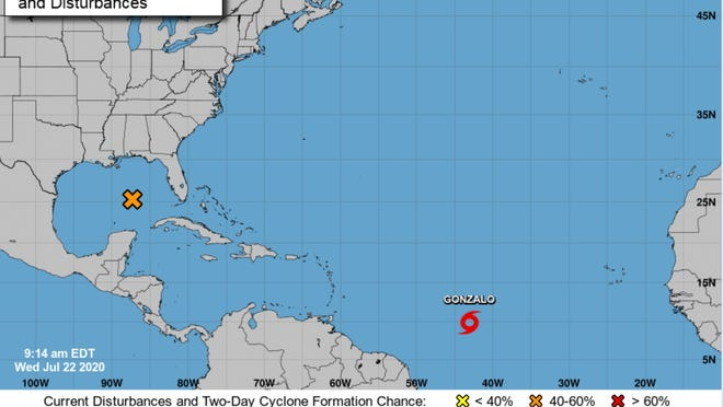 "Tropical Storm Gonzalo, which could become this year's first hurricane, doesn't currently present a danger to Florida. Kevin Rodriguez of the National Weather Service said the storm is tracking ""generally west"" into the east Carribean."