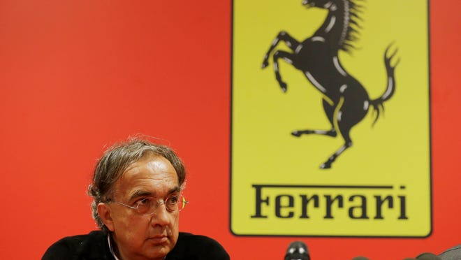 Fiat Chrysler CEO Sergio Marchionne attends a news conference at the headquarters of sports car maker Ferrari in Maranello, Italy.