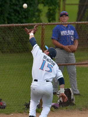 St. Cloud Rox third baseman Brandon Benson makes a catch at the left field warning track in the fourth inning against the Waterloo Bucks Tuesday at Joe Faber Field.