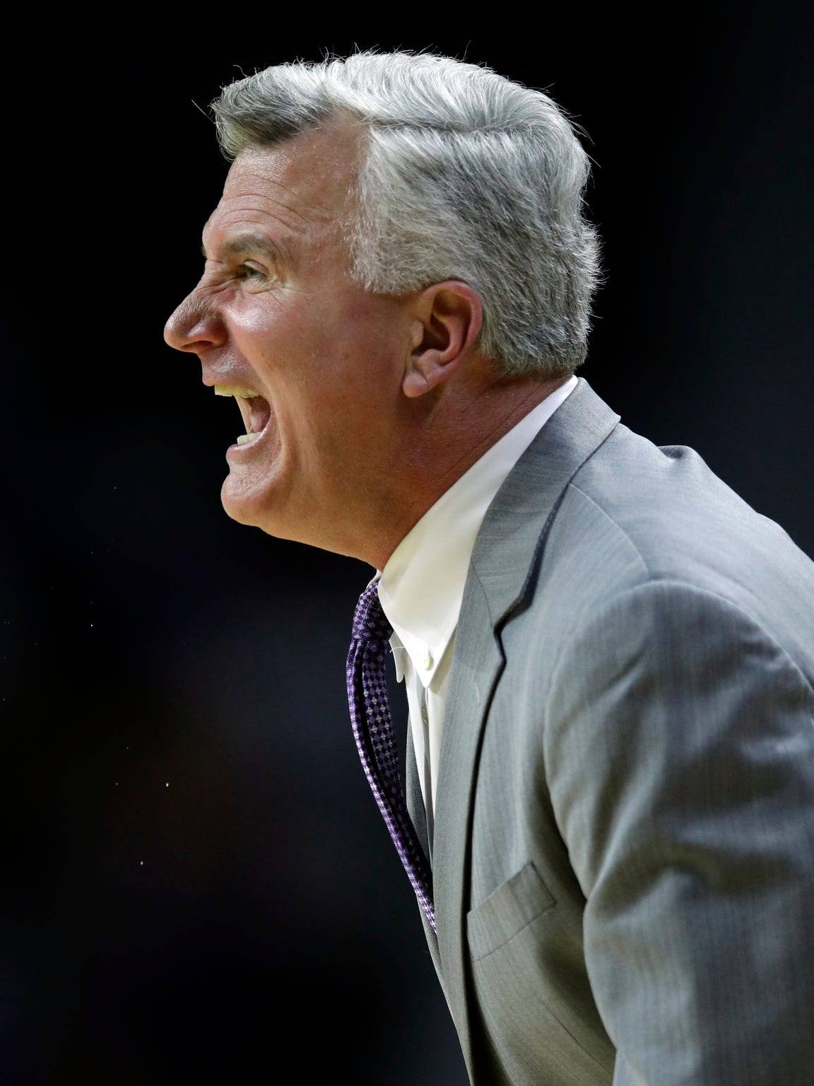 Kansas State coach Bruce Weber shouts to his team during the first half against Texas in Manhattan, Kansas, on Feb. 21, 2018. Weber is a Milwaukee native and graduated from UW-Milwaukee.