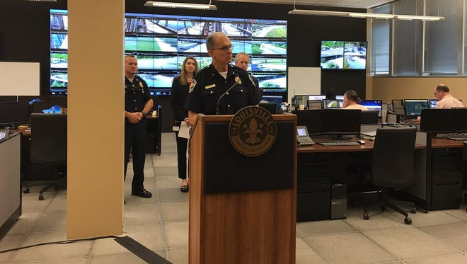 Louisville Police Chief Steve Conrad discussed the success of the Real Time Crime Center during a Wednesday press conference.