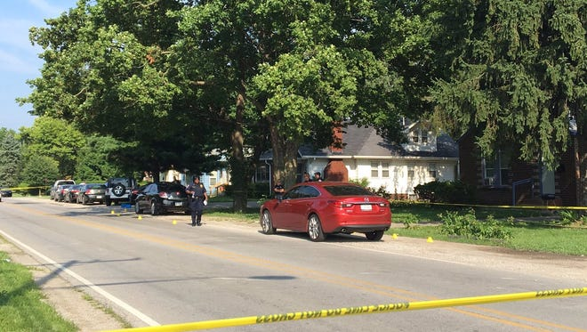 Indianapolis police are investigating the scene where three people were shot at a funeral on the north side Thursday, July 20, 2017.