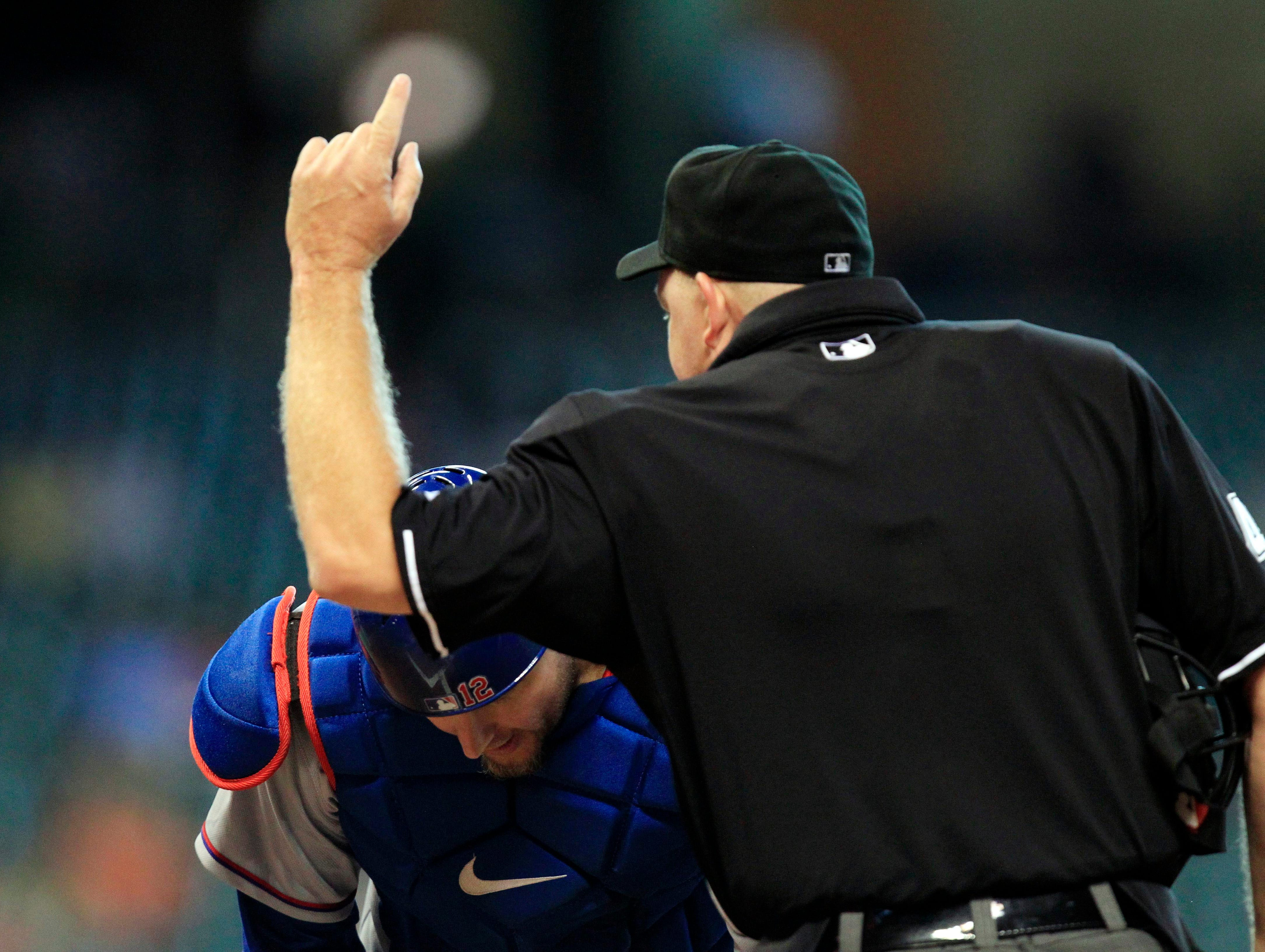Aug. 12: Umpire Ron Kulpa ejects Texas Rangers catcher A.J. Pierzynski during the sixth inning against the Houston Astros at Minute Maid Park.