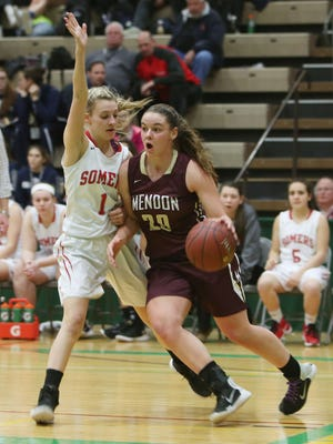 Pittsford Mendon's Sara Lyons, shown here during the Class A girls basketball state semifinals in Troy, is the 2017 Democrat and Chronicle All-Greater Rochester Player of the Year.