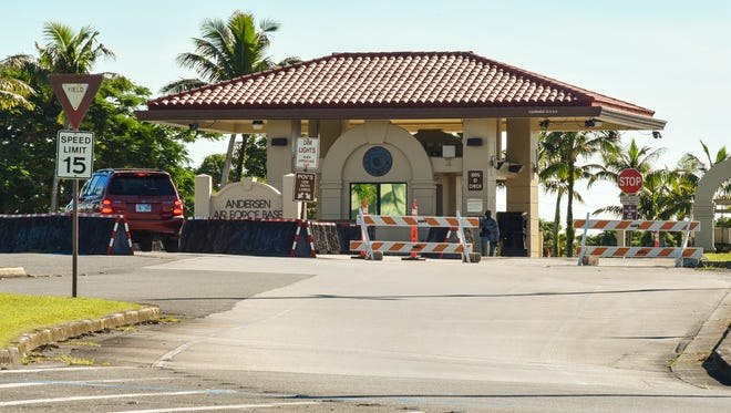 A motorist approaches the front gate of Andersen Air Forces Base on Friday, Aug. 11, 2017.