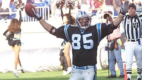 Former Ole Miss tight end Wesley Walls celebrates scoring a touchdown with the Carolina Panthers. He's excited about being inducted into the Mississippi Sports Hall of Fame this weekend.
