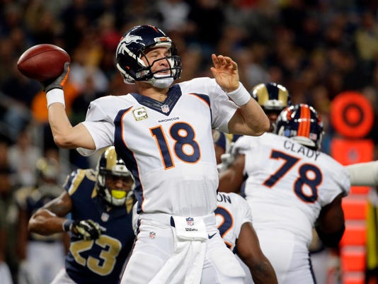 FILE - In this Nov. 16, 2014, file photo, Denver Broncos quarterback Peyton Manning throws during an NFL football game against the St. Louis Rams in St. Louis. The AFC West champion Broncos led the NFL with nine players selected for the Pro Bowl on Tuesday. Manning was picked for the 14th time. (AP Photo/Charlie Riedel, File)