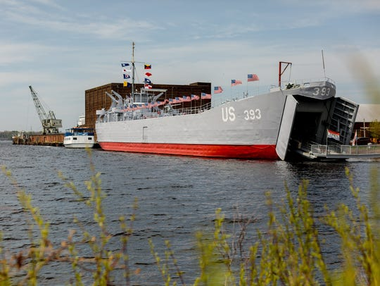 The historic USS LST 393 Veterans Museum moored at the Mart Dock in downtown Muskegon on May 13, 2018. The USS LST was one of the vessels present at the landing in 1944 for the D-Day invasion of Omaha Beach.