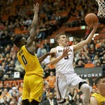 Oregon State forward Tres Tinkle, pictured here in last month's victory against California in Corvallis, scored 19 points in the Beavers' 62-50 victory Thursday at Stanford.
