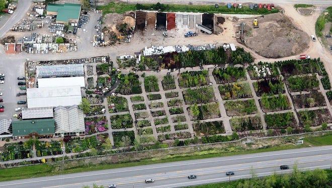 An aerial shot of Bristol's Garden Center in Victor.