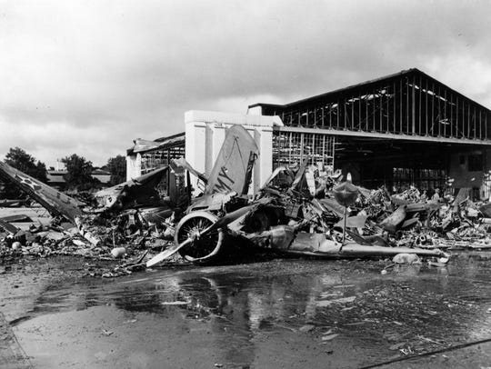 U.S. Army aircraft destroyed by Japanese raiders at