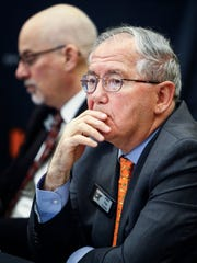 University of Tennessee board of trustees member John Foy takes part in a quarterly meeting at the UT Health Science Center campus in Memphis.