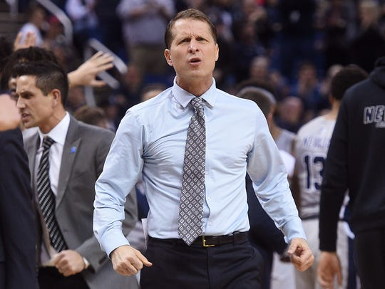 Nevada head coach Eric Musselman gets fired up while