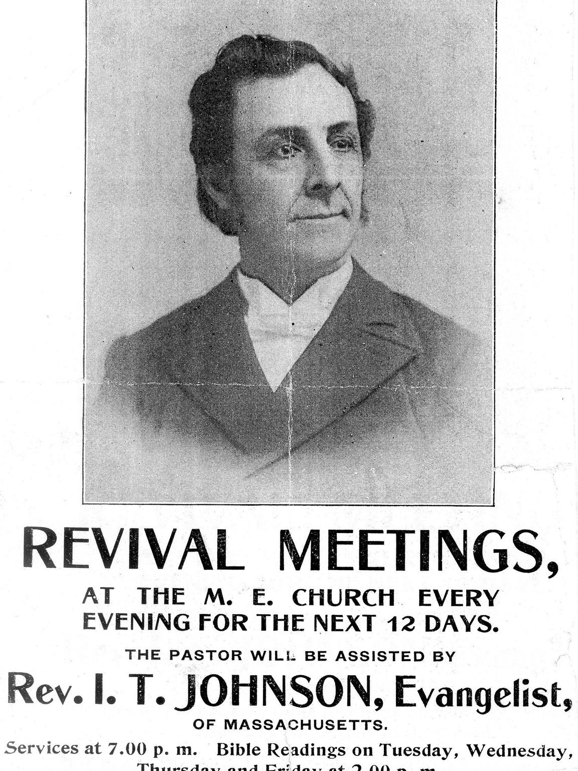 A poster from 1899 advertises a revival meeting and