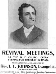 "A poster from 1899 advertises a revival meeting and speaking events from visiting pastors in Milton. Itinerant preachers or ""circuit riders"" were common for the Methodist and Congregational services in the 19th century, especially in rural areas like Milton."