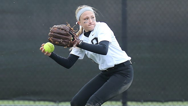 Plymouth outfielder Rachel Zerona gets set to throw the ball back toward the infield Wednesday against Canton.
