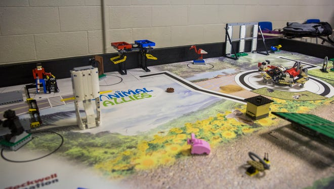 This lego map has various obstacles the Lego League Team at the Housing Authority must get their lego robot to complete before they go to a regional competition in December.