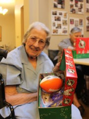 Evelyn Gillman was one of many residents at Elmcroft Senior Living who filled an Operation Christmas Child shoebox for Christmas.