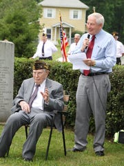 This submitted photo shows Lister Endsley, then 100, being announced as the grand marshal of the 2017 Keene Memorial Day Parade by his son, Larry Endsley. Lister died at the age of 102 on Dec. 14.