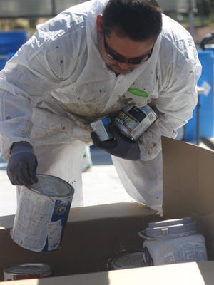 Hundreds of gallons of oil, paint and other products, along with thousands of batteries and other electronics are disposed of during Carlsbad's biannual Hazardous Waste Day, April 28, 2018 at Lake Carlsbad Beach Park.