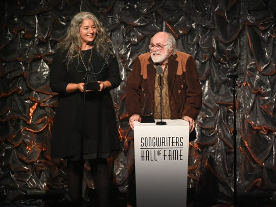 Honoree Robert Hunter and Trixie Garcia accepting the award for her father Jerry Garcia at the 46th Annual Songwriters Hall Of Fame Induction and Awards Gala at the Marriott Marquis on Thursday, June 18, 2015, in New York.