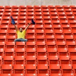 Enthusiastic Sports Fan in Stadium