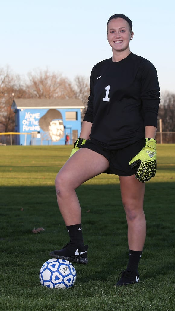 Pearl River's Lauren Gallagher wasn't too happy about having to make the switch to goaltender from forward at age 11, but things worked out OK for the Pirates' star.