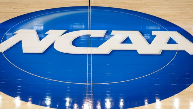 The NCAA logo is seen at center court.