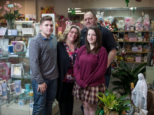 The Matthews family runs Silver Tulip Florist in Middletown, including Bobby, 16, Bridget, Rachel, 16, and Rob.